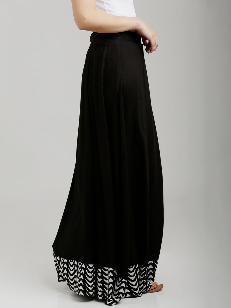 Printed Border Full Length Flared Black Skirt