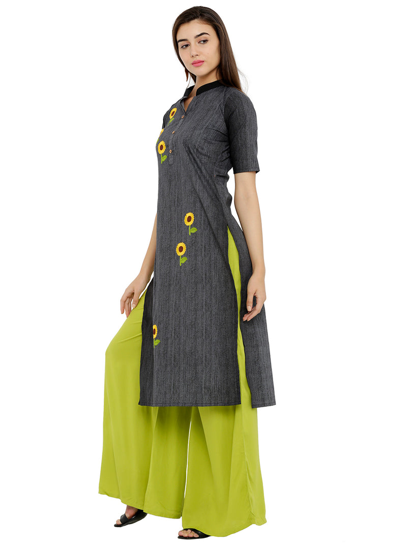 Flower Embroided Black Denim Kurta
