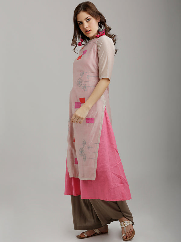 Two Layer Chanderi Patch Embroidered Kurta