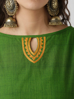 Breya Keyhole Neck Green And Rust A-Line Kurta