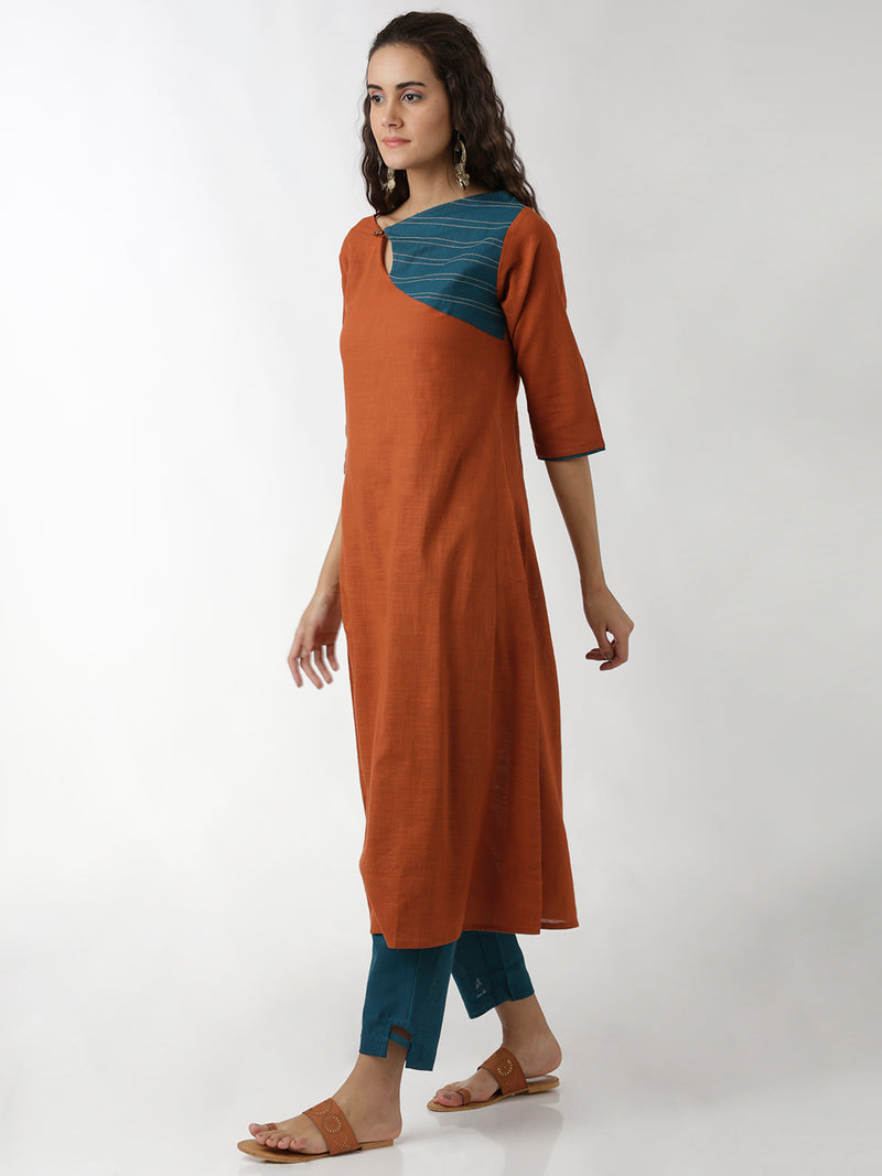 Orange Blue Kurta