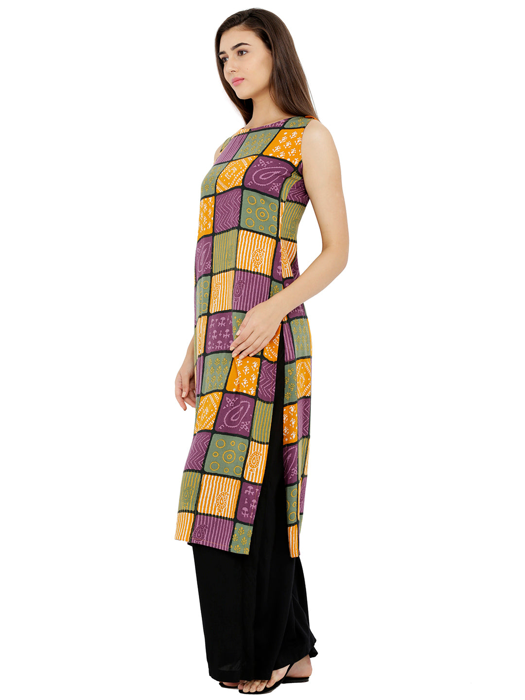 Breya Multicolor Checkered Sleveless Kurta