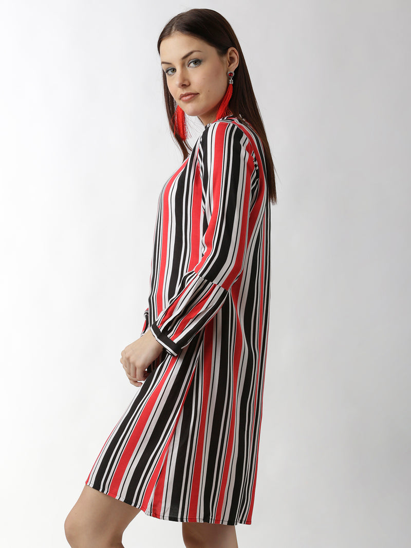 Red Striped A-Line Dress