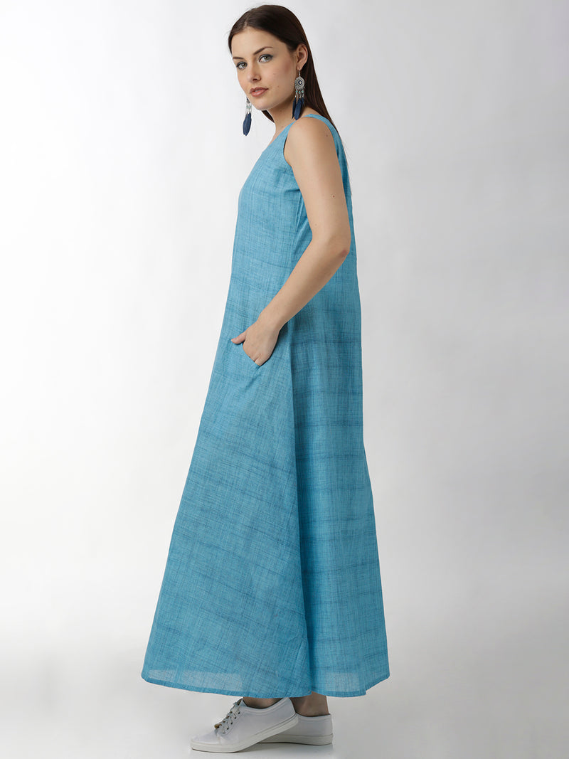 Blue A-Line Full Length Maxi Dress