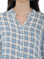 Breya White & Blue Checkered Print Kurta