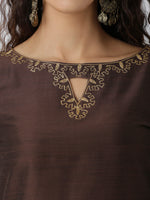Breya Neck And Sleeves Embroidered Brown Straight Kurta