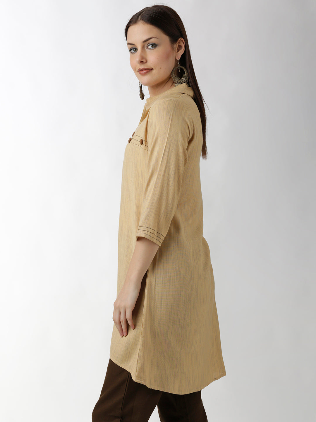 Breya A-Line Solid Beige Dress