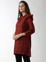 Breya A-Line Printed Maroon Dress