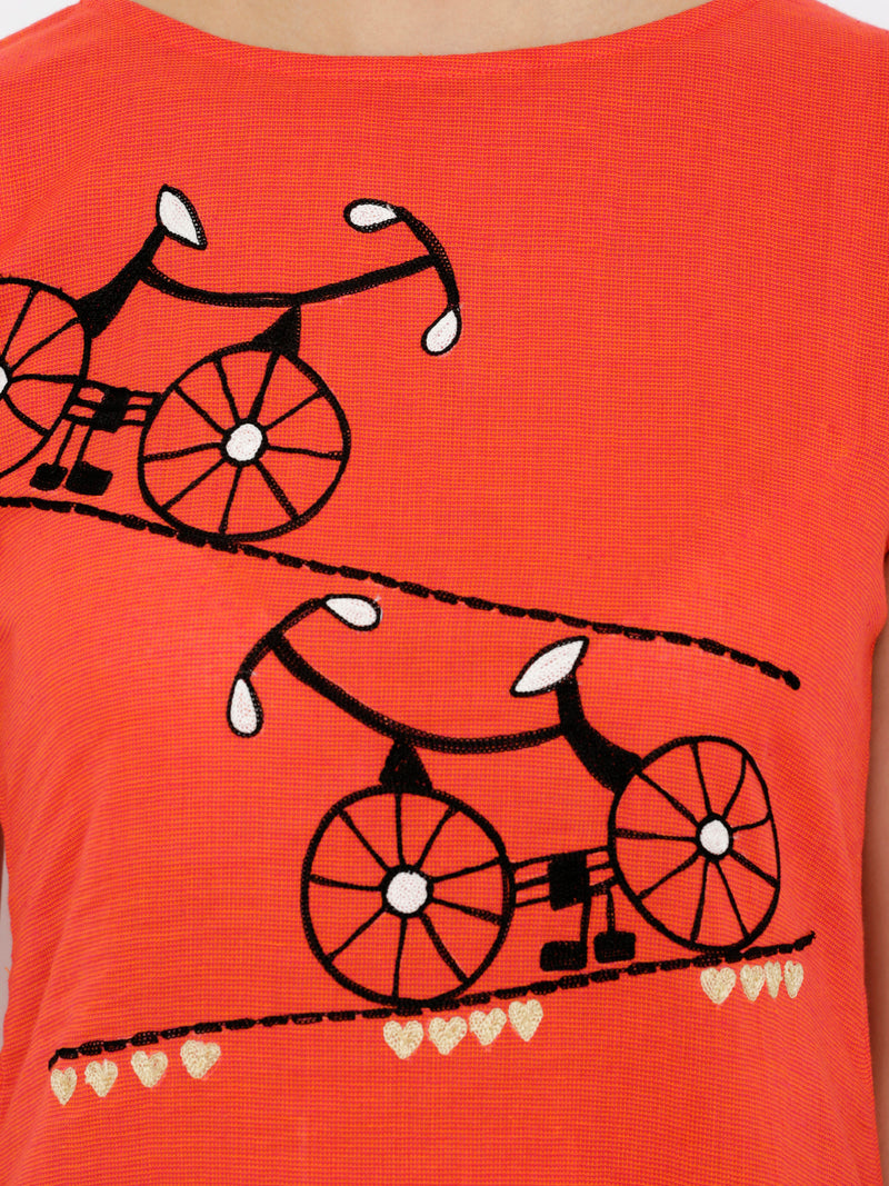 Cycle Embroided Red A-line kurta