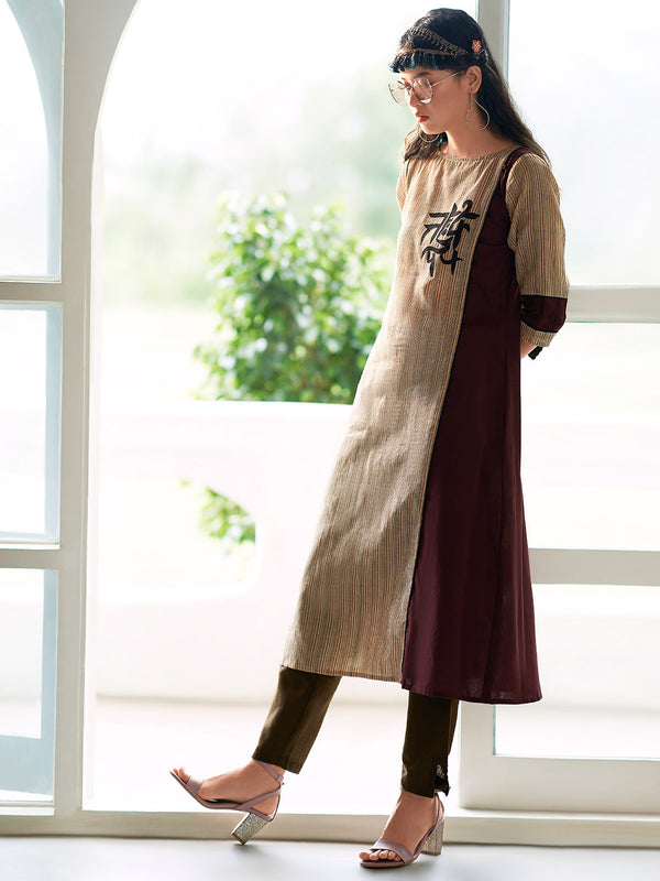 Brown Striped Kurta