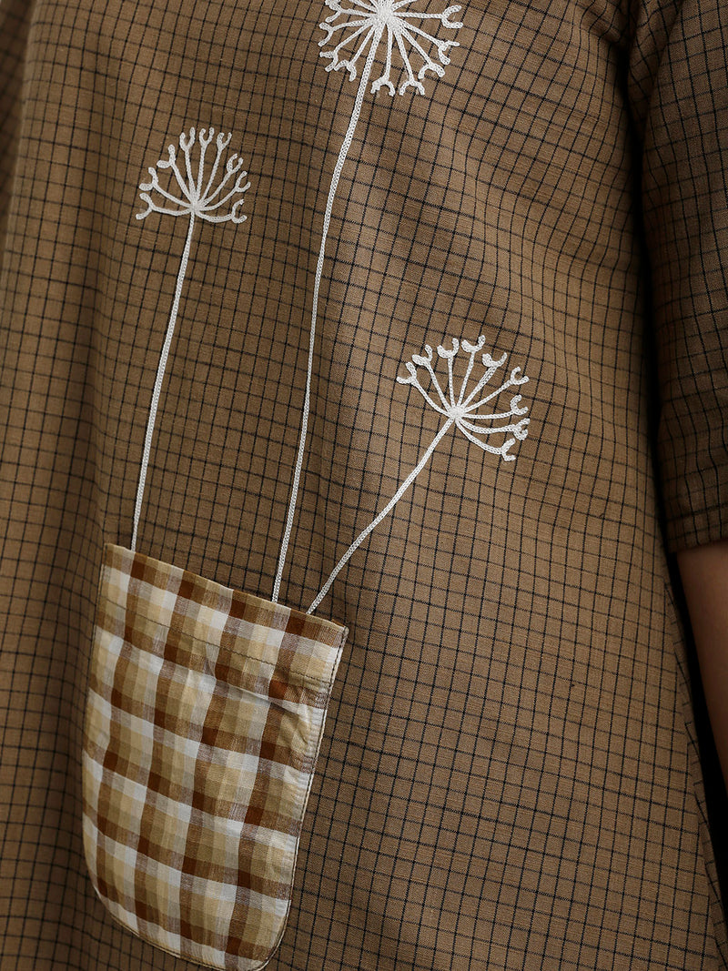 Brown Checkered Embroidery Tunic