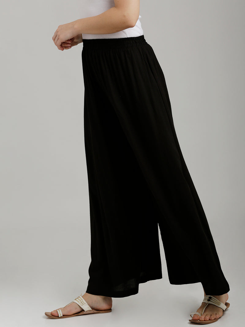 Solid Black Full Length Palazzo