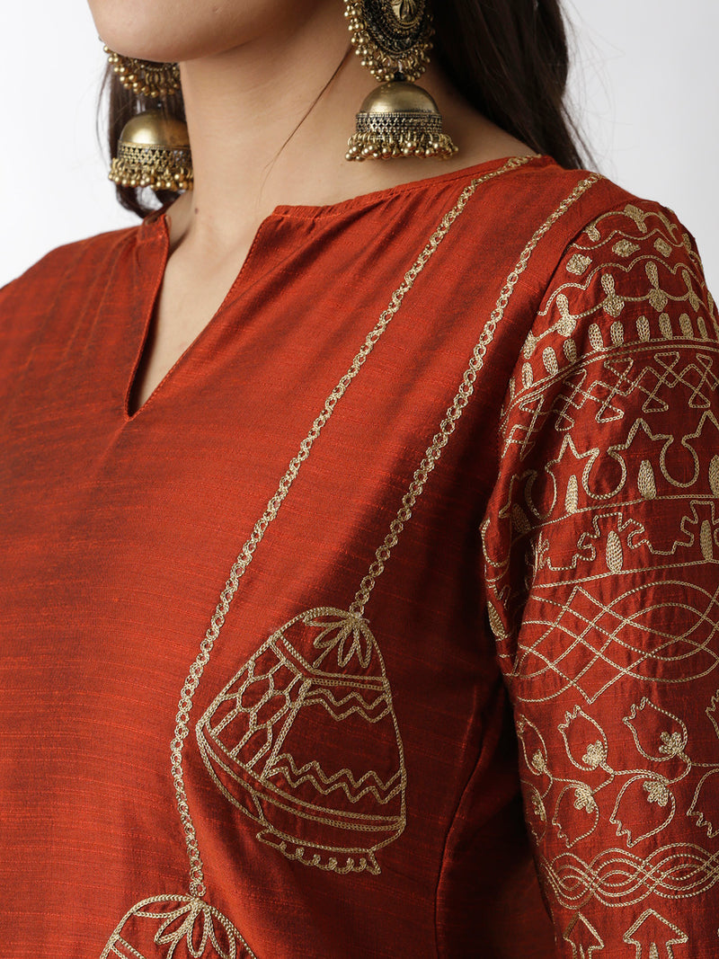 Embroidered Dark Orange Straight Kurta