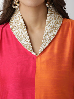 Breya Embroidered Shawl Collar Multicolor A-Line Kurta