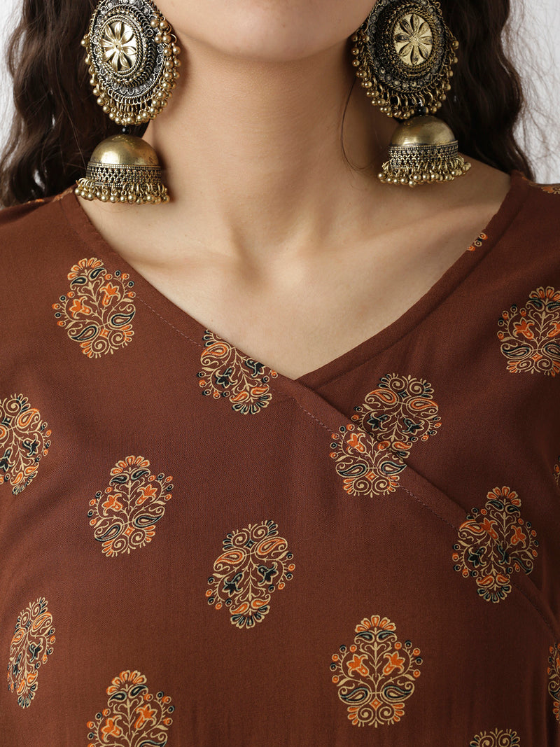 Ethnic Show-Wrap Printed Brown Top