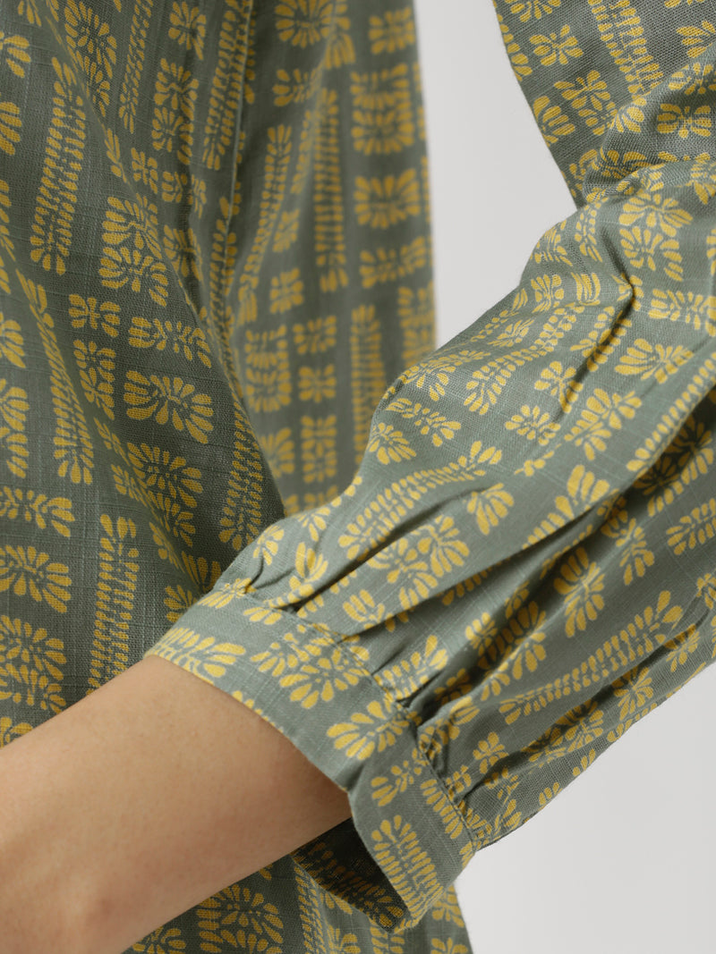 Sap Green & Yellow Printed Top
