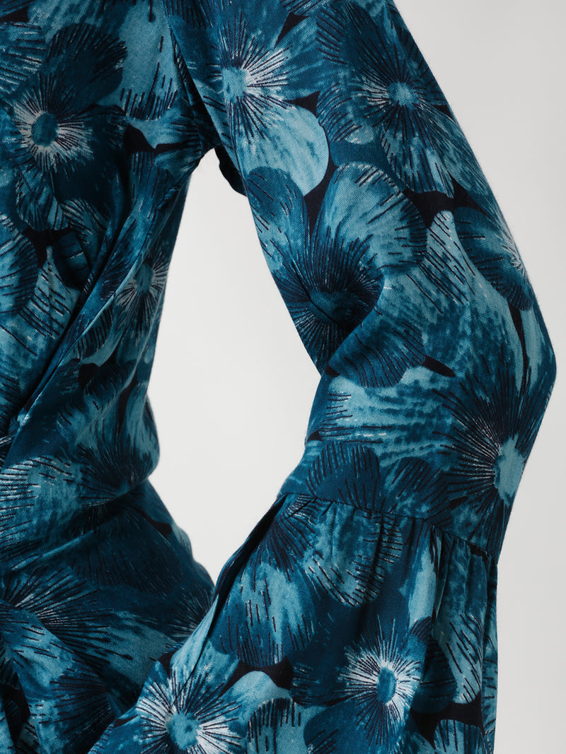 Blue Floral Printed Show-Wrap Top