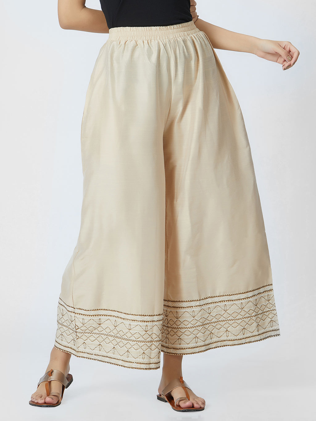 Silk Beige Embroidered Border Loose Pants