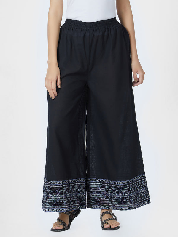 Black Embroidered Palazzo Pants