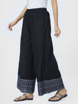 Black Embroidered Border Loose Pants