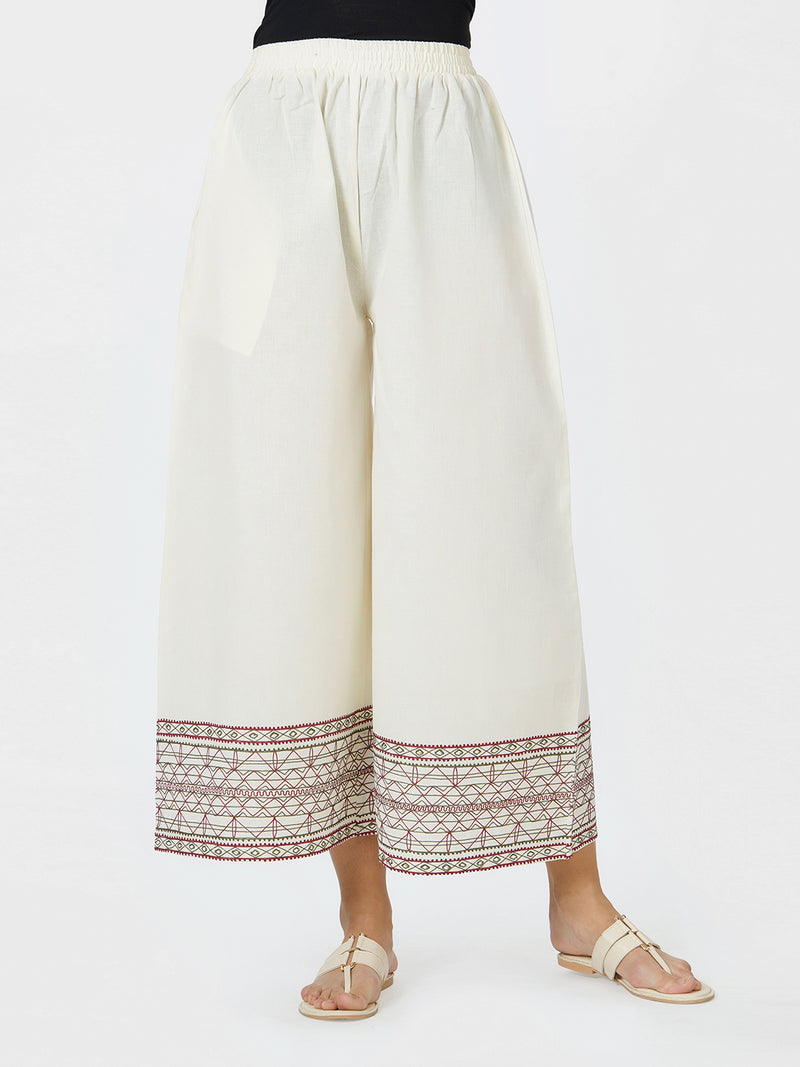 Off White Embroidered Border Loose Pants