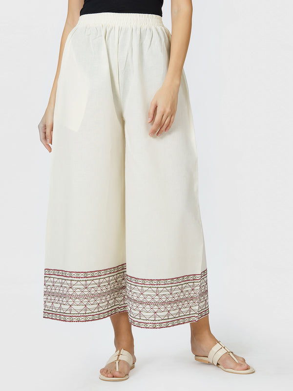 Off-White Embroidered Palazzo Pants