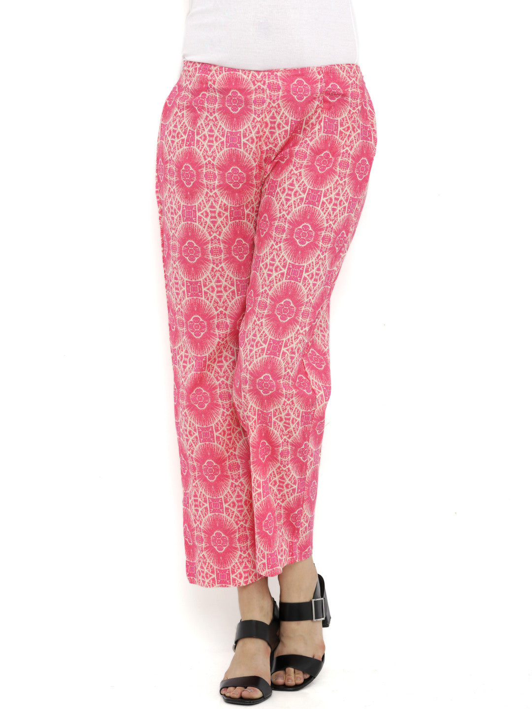 Breya Pink Beige Flat Front Cropped Trousers