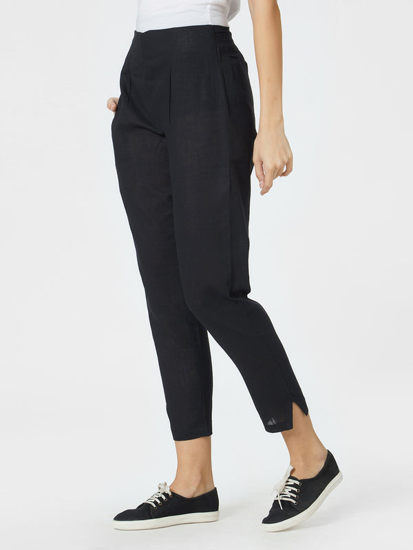 Narrow Black Pants With Statement Hem