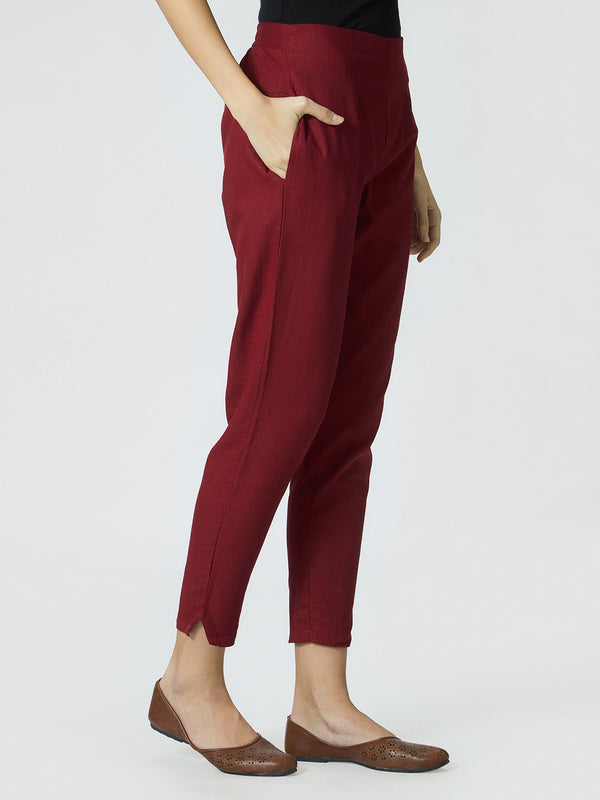 Narrow Maroon Pants