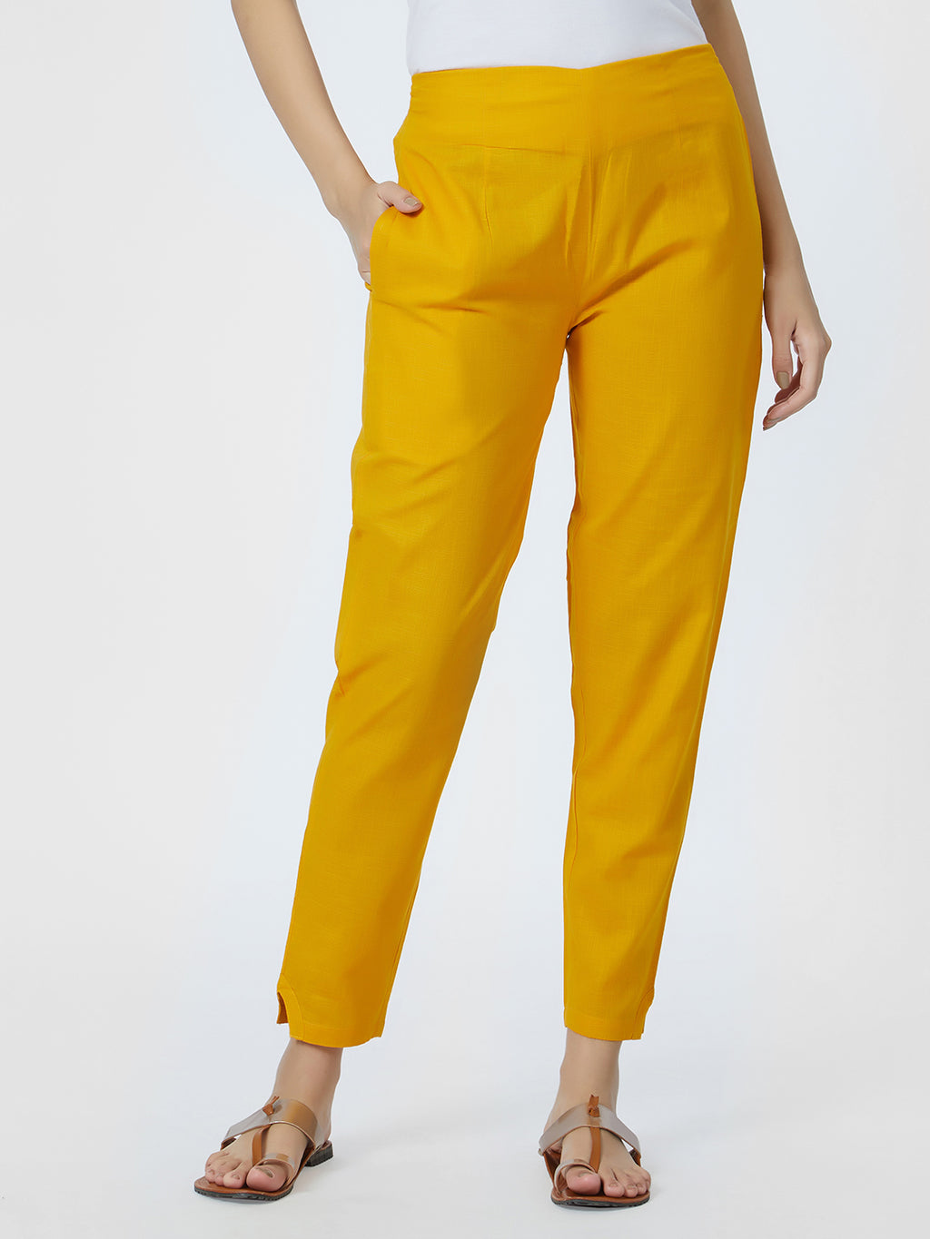 Narrow Mustard Pants