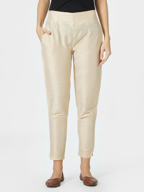 Beige Narrow Silk Pants