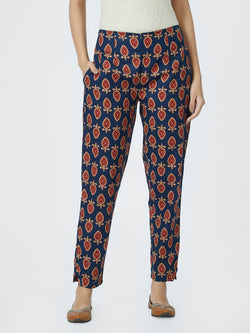 Narrow Printed Blue Pants