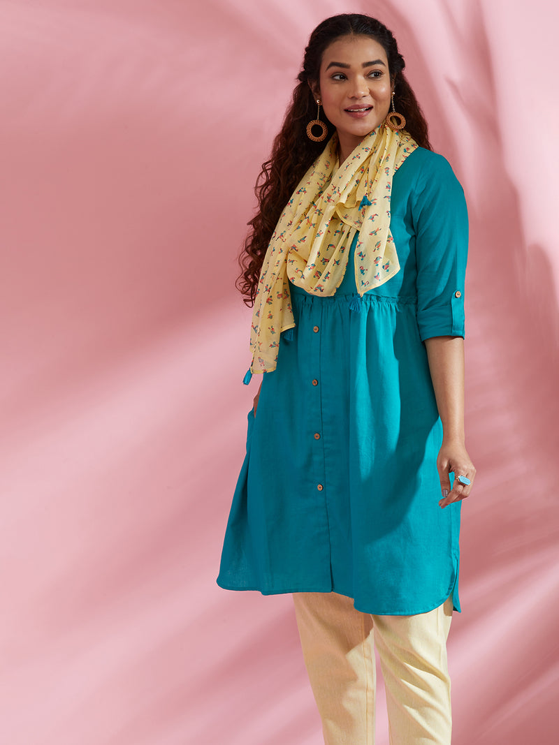 Sea Green Kurta Scarf Set