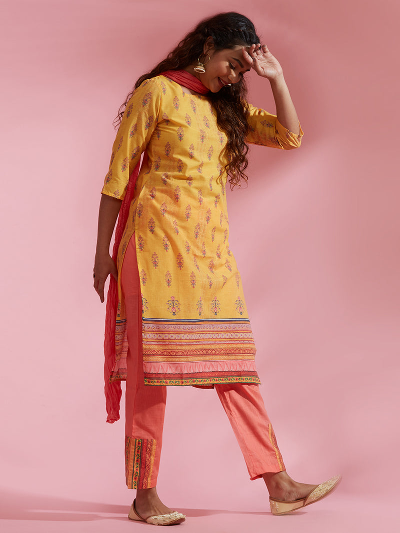 Yellow Printed Kurta Set