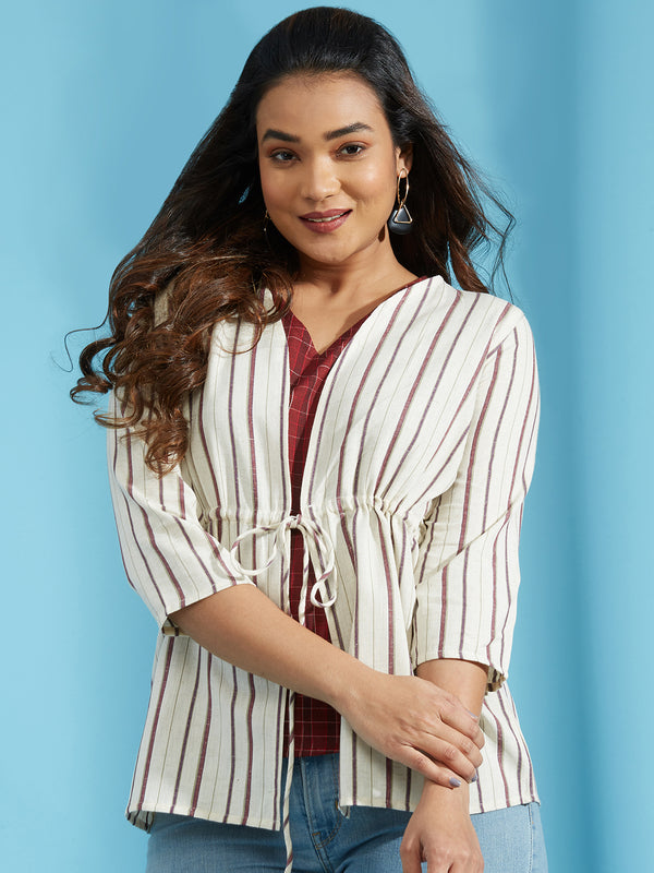 Maroon Checkered Top Jacket Set