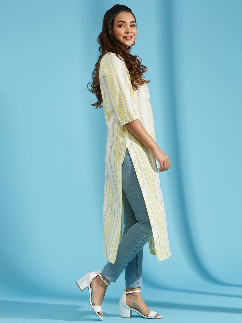 Cream Striped Kurta
