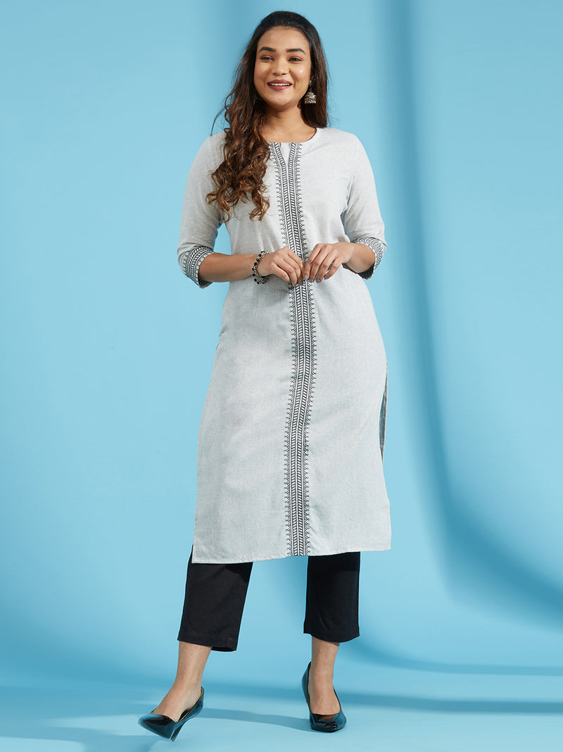 Grey Melange Embroidered Kurta