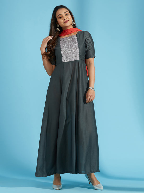 Charcoal Kurta Dupatta Set