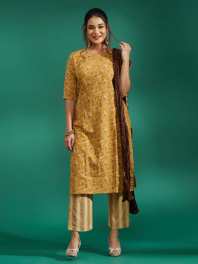 Brown Printed Kurta Set
