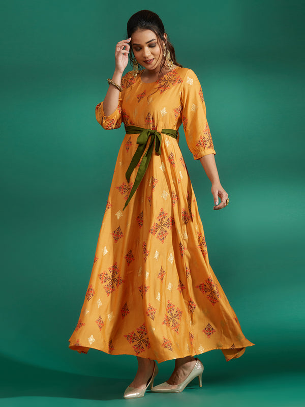 Mustard Printed Long Dress