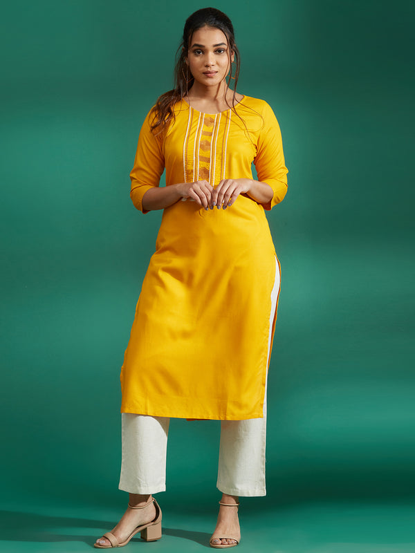 Mustard Embroidered Kurta