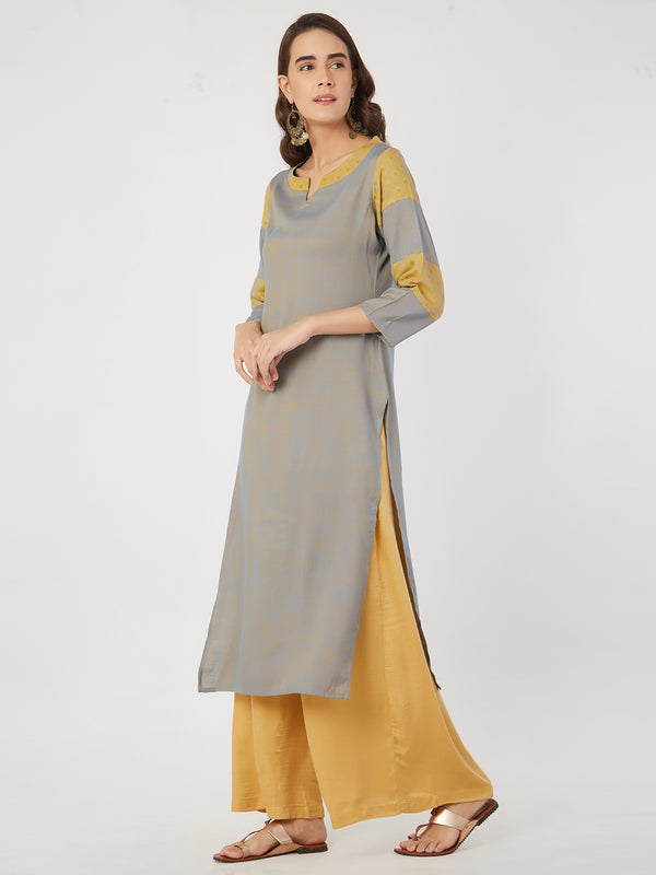 Solid Blue And Jaquard Yellow Kurta