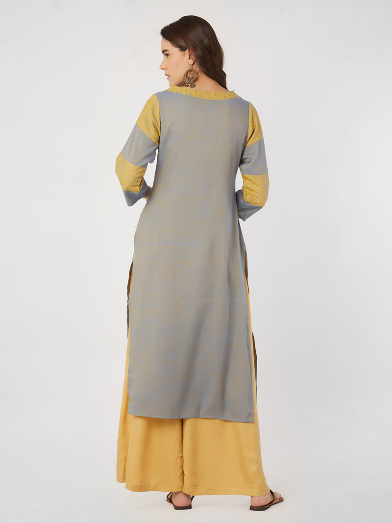 Solid Blue & Yellow Kurta