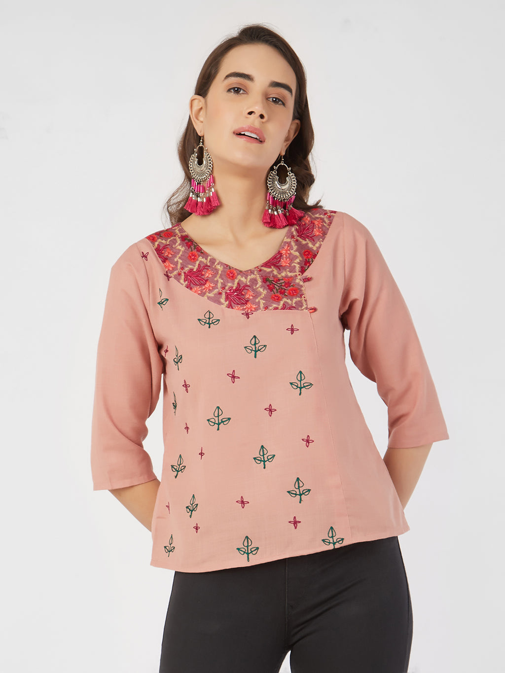 Onion Pink Embroidered Top