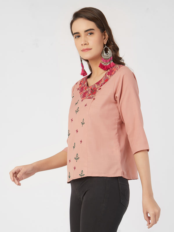 Peach Pink Embroidered Top