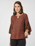 Rust Embroidered Keyhole Neck  Top