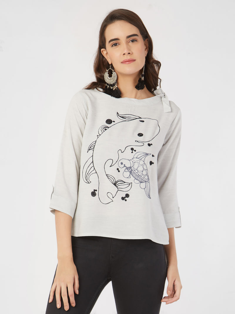 Embroidered Grey Neck Tie Up Top