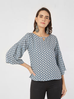 Blue Geometric Top