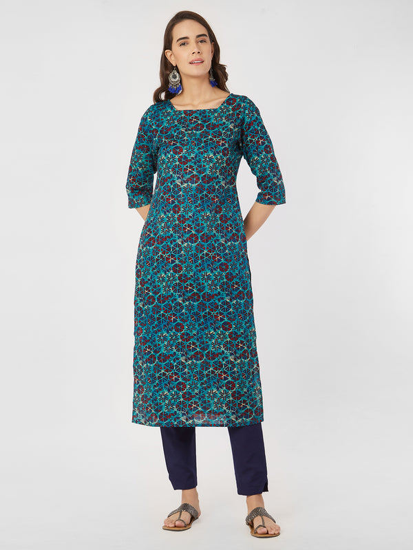 Blue Geometric Printed Straight Kurta