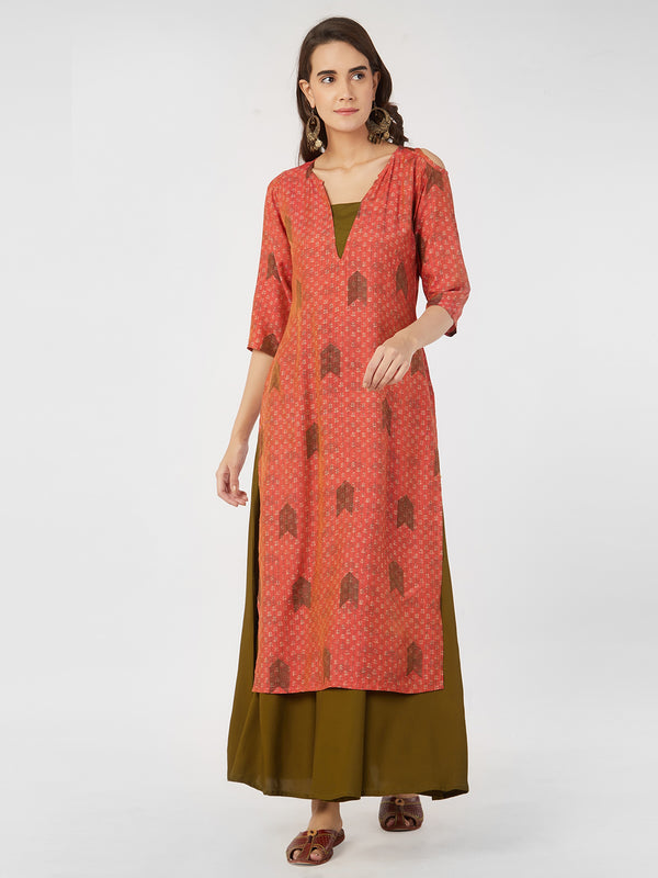 Printed Peach Straight Kurta